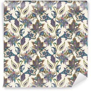 Pixerstick Duvar Kağıdı Vintage floral ve şal sorunsuz desen, oryantal arka plan