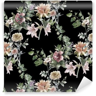 Pixerstick Duvar Kağıdı Yaprak ve çiçek Suluboya, koyu arka plan üzerinde sorunsuz desen,