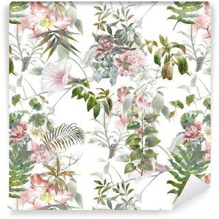 Vinil Duvar Kağıdı Yaprak ve çiçek Suluboya resim, beyaz zemin üzerinde sorunsuz desen