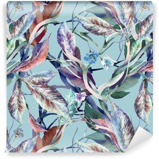 Vinil Duvar Kağıdı Yaprakları - dikişsiz desen