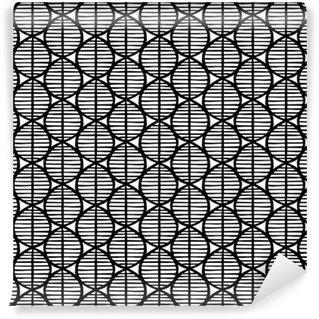 Vinil Duvar Kağıdı Yaprakları ile ilkel kesintisiz çiçek deseni. siyah ve beyaz kabile, etnik köken, basit geometri,. Tekstil tasarımı.