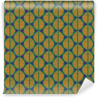 Vinil Duvar Kağıdı Yaprakları ile ilkel kesintisiz çiçek deseni. Tribal etnik köken, basit geometri, canlı tropikal sesleri. Tekstil tasarımı.