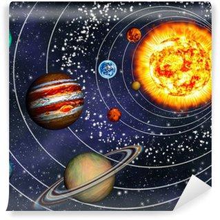 Vinil Duvar Resmi 3D Solar System: kendi yörüngelerinde 9 gezegen