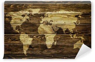 Vinil Duvar Resmi Ahşap arka plan üzerinde Dünya haritası