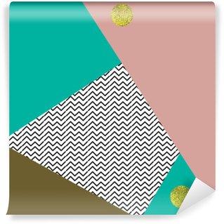 Vinil Duvar Resmi Altın çevrelerle Geometrik arka plan.