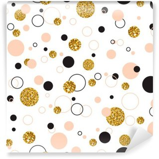 Vinil Duvar Resmi Altın Geometrik Glitter Nokta Universal Modern Şık kesintisiz Şablon o Vector illustration. Yaratıcı Düğün, Yıldönümü, Doğum Günü, Sevgililer Günü, Parti Davetiyeleri arka plan.