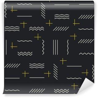 Vinil Duvar Resmi Altın unsurları ile geometrik çizgiler seamless pattern