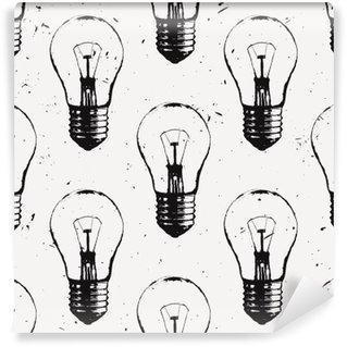 Vinil Duvar Resmi Ampuller ile vektör grunge seamless pattern. Modern yenilikçi kroki tarzı. Fikir ve yaratıcı düşünme kavramı.
