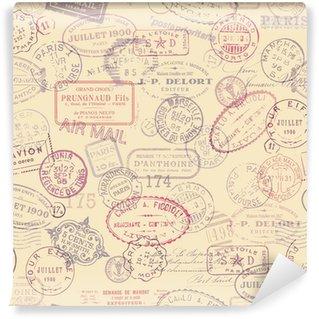 Vinil Duvar Resmi Bağbozumu pulları ile posta temalı arka plan (fayans)