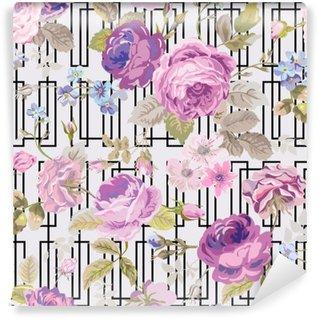 Vinil Duvar Resmi Bahar Çiçekleri Geometri Arka Plan - Dikişsiz Çiçek Shabby Chic