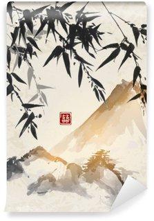 Vinil Duvar Resmi Bambu ve dağlar. Geleneksel Japon mürekkep boyama Sumi-e. çift şans - hiyeroglif içerir.
