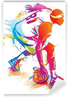 Vinil Duvar Resmi Basketbol oyuncusu. vektör Çizim