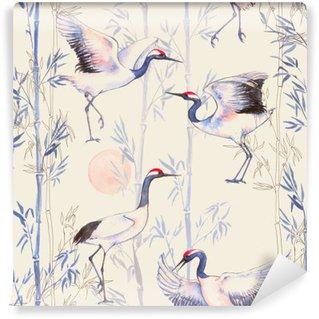 Vinil Duvar Resmi Beyaz Japon dans vinçler ile elle çizilmiş suluboya dikişsiz desen. narin kuşlar ve bambu ile tekrarlanan arka plan