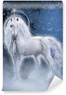 Vinil Duvar Resmi Beyaz Unicorn 3d bilgisayar grafikleri