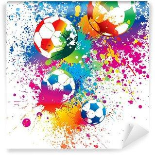 Vinil Duvar Resmi Beyaz zemin üzerine renkli futbol topu