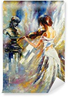 Vinil Duvar Resmi Bir keman çalıyor kız