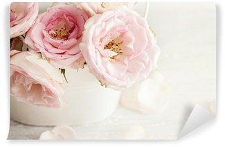 Vinil Duvar Resmi Bir vazoda pembe çiçekler