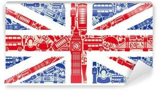 Vinil Duvar Resmi Birleşik Krallık ve Londra sembollerden İngiltere Bayrağı