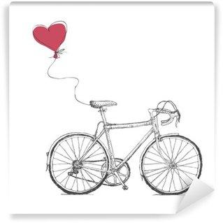 Vinil Duvar Resmi Bisiklet ve Kalp balon ile Vintage Sevgililer İllüstrasyon