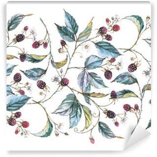 Vinil Duvar Resmi Böğürtlen dalları, yaprakları ve meyveleri: Doğal motifleri ile suluboya sorunsuz süsleme elle çizilmiş. Tekrarlanan dekoratif illüstrasyon, çilek ve yaprakları ile sınır