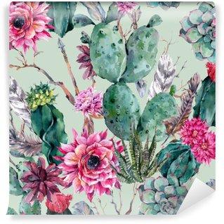 Vinil Duvar Resmi Bohem tarzı Cactus suluboya seamless pattern.