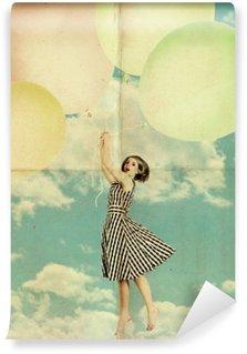 Vinil Duvar Resmi Bulutlar mavi gökyüzü hava topları kadın