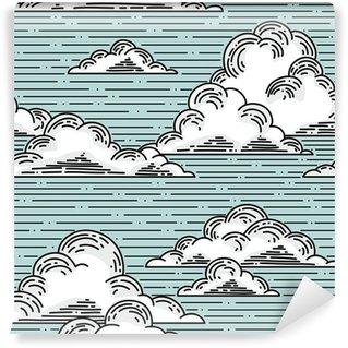 Vinil Duvar Resmi Bulutlar sorunsuz desen illüstrasyon elle çizilmiş. vektör arka plan