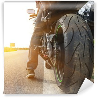Vinil Duvar Resmi Cadde tarafında motosiklet