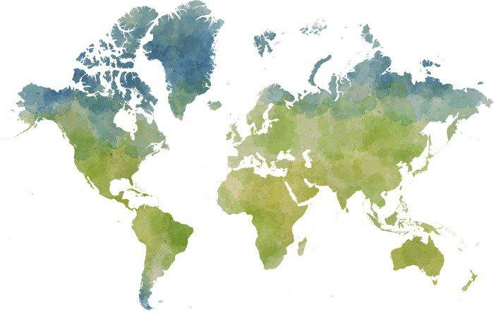 Vinil Duvar Resmi Cartina mondo, disegnata illustrata pennellate - Diğer