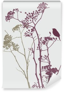 Vinil Duvar Resmi Çayır çiçekler kuş