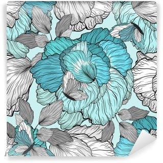 Vinil Duvar Resmi Çiçek Desen Dikişsiz Arkaplan