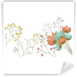 Vinil Duvar Resmi Çiçekler simgesi. Dekorasyon rustik bahçe çiçek bitki doğa ve bahar teması. İzole edilmiş bir tasarım. vektör çizim