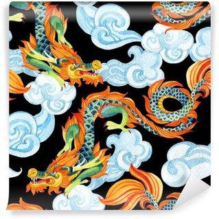 Vinil Duvar Resmi Çin Ejderha sorunsuz desen. Asya ejderha illüstrasyon