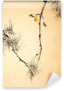 Vinil Duvar Resmi Çin mürekkep boyama kuş ve bitki