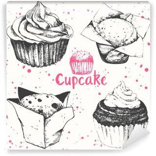 Vinil Duvar Resmi Cupcakes ve kekler. elle çizilmiş kek ayarlayın.