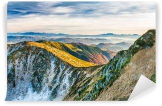 Vinil Duvar Resmi Dağlarda Sunset