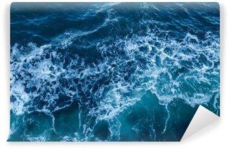 Vinil Duvar Resmi Dalgalar ve köpük ile mavi deniz doku