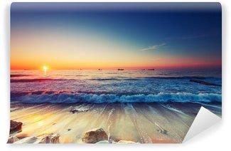 Vinil Duvar Resmi Deniz üzerinde Sunrise