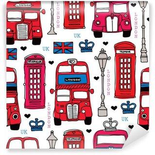 Vinil Duvar Resmi Dikişsiz aşk London UK kırmızı seyahat simge arka plan deseni