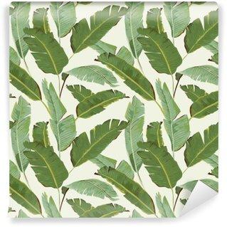 Vinil Duvar Resmi Dikişsiz Desen. Tropikal Palmiye Background bırakır. Muz yaprakları