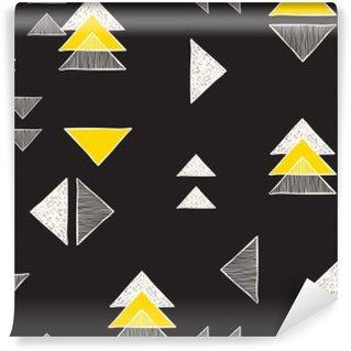 Vinil Duvar Resmi Dikişsiz elle çizilmiş üçgenler desen.