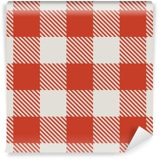 Vinil Duvar Resmi Dikişsiz kırmızı ve beyaz masa örtüsü vektör desen.