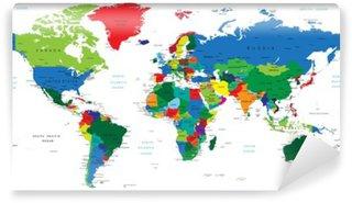 Vinil Duvar Resmi Dünya haritası-ülkeler