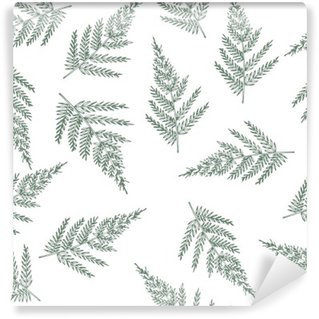 Vinil Duvar Resmi Eğrelti otları ile sorunsuz desen. Sıradışı doğal doku. tasarım için oluşturulan bitkilerle duvar kağıdı.
