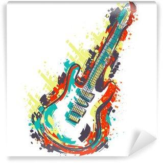 Vinil Duvar Resmi Elektro gitar. Elle çizilmiş grunge tarzı sanat. Retro afiş, kart, t-shirt, çanta, baskı, poster.Vintage renkli elle çizilmiş vektör çizim