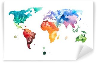 Vinil Duvar Resmi Elle çizilmiş suluboya dünya haritası suluboya illüstrasyon.