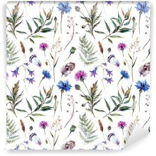 Vinil Duvar Resmi Elle çizilmiş suluboya kır çiçekleri