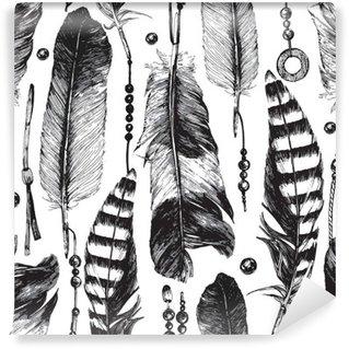 Vinil Duvar Resmi Elle çizilmiş tüyleri ile Seamless pattern