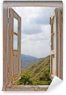 Vinil Duvar Resmi Eski Beyaz Penceresinden isimli