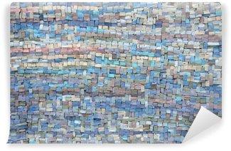 Vinil Duvar Resmi Eski mavi ve lila mozaik doku